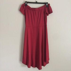 NWOT Red High Low Off the Shoulder Dress Medium 👗